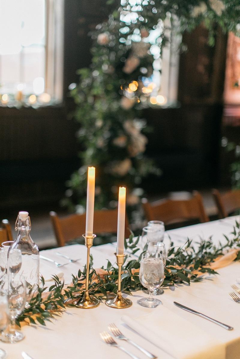 flameless taper candle, greenery runner, blush table runner, studio fleurette.jpg