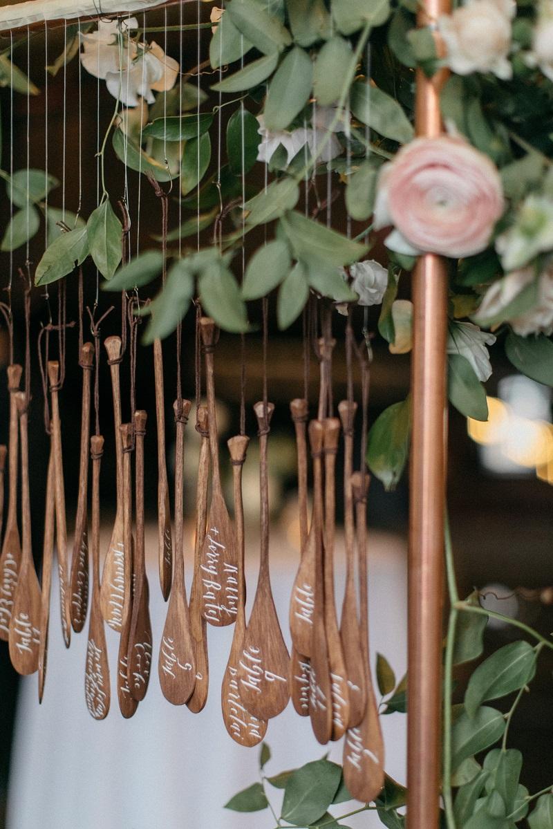 unique wood escort card ideas, wedding place card ideas, studio fleurette, pink ranunculus, wood wedding decorations.jpg
