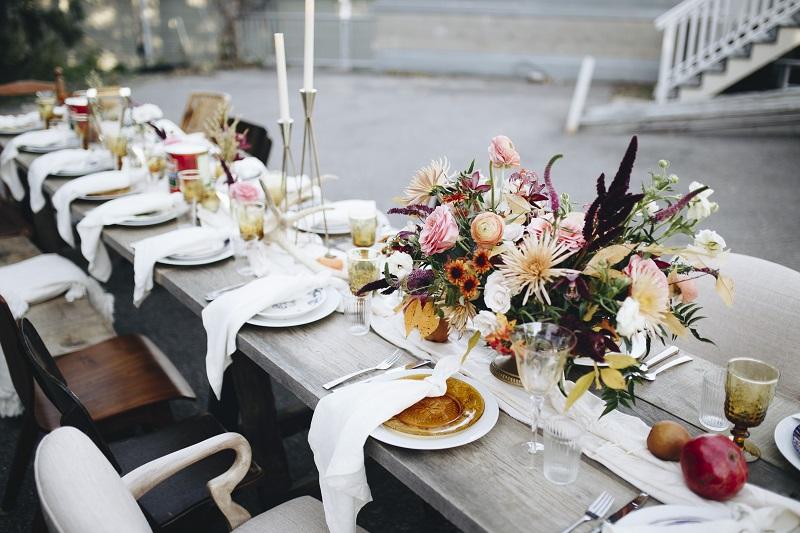studio fleurette, boho wedding centerpiece, fall texture flowers, mn rustic outdoor dinner