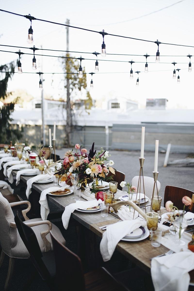 outdoor cafe lights, outdoor mn wedding, studio fleurette, minneapolis autumn outdoor event