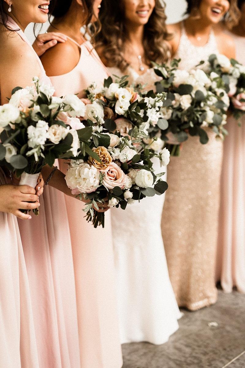 rose gold bridesmaid dresses, blush bridesmaid bouquets, studio fleurette minneapolis florist