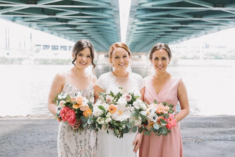 peony bridesmaid bouquets, coral charm peony bouquet, studio fleurette, bachelor farmer minneapolis wedding.jpg