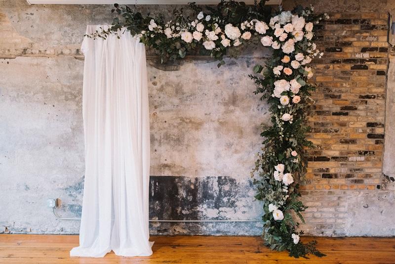 the bachelor farmer, hanging ceremony floral backdrop, flower backdrop, urban flower installation, studio fleurette.jpg