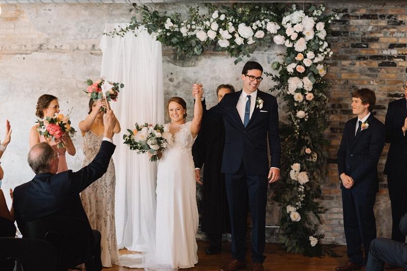 wedding ceremony floral backdrop, studio fleurette, the bachelor farmer wedding