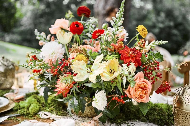 colorful floral centerpieces, boho floral centerpiece, studio fleurette, mn wedding flowers.jpg