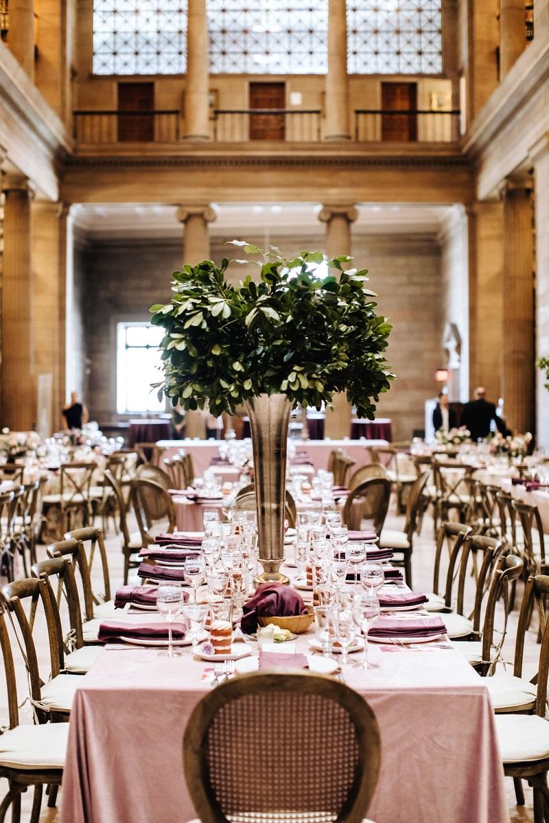 James Jay Hill Library events, studio fleurette florist, mpls wedding flowers, tall greenery centerpiece.jpg