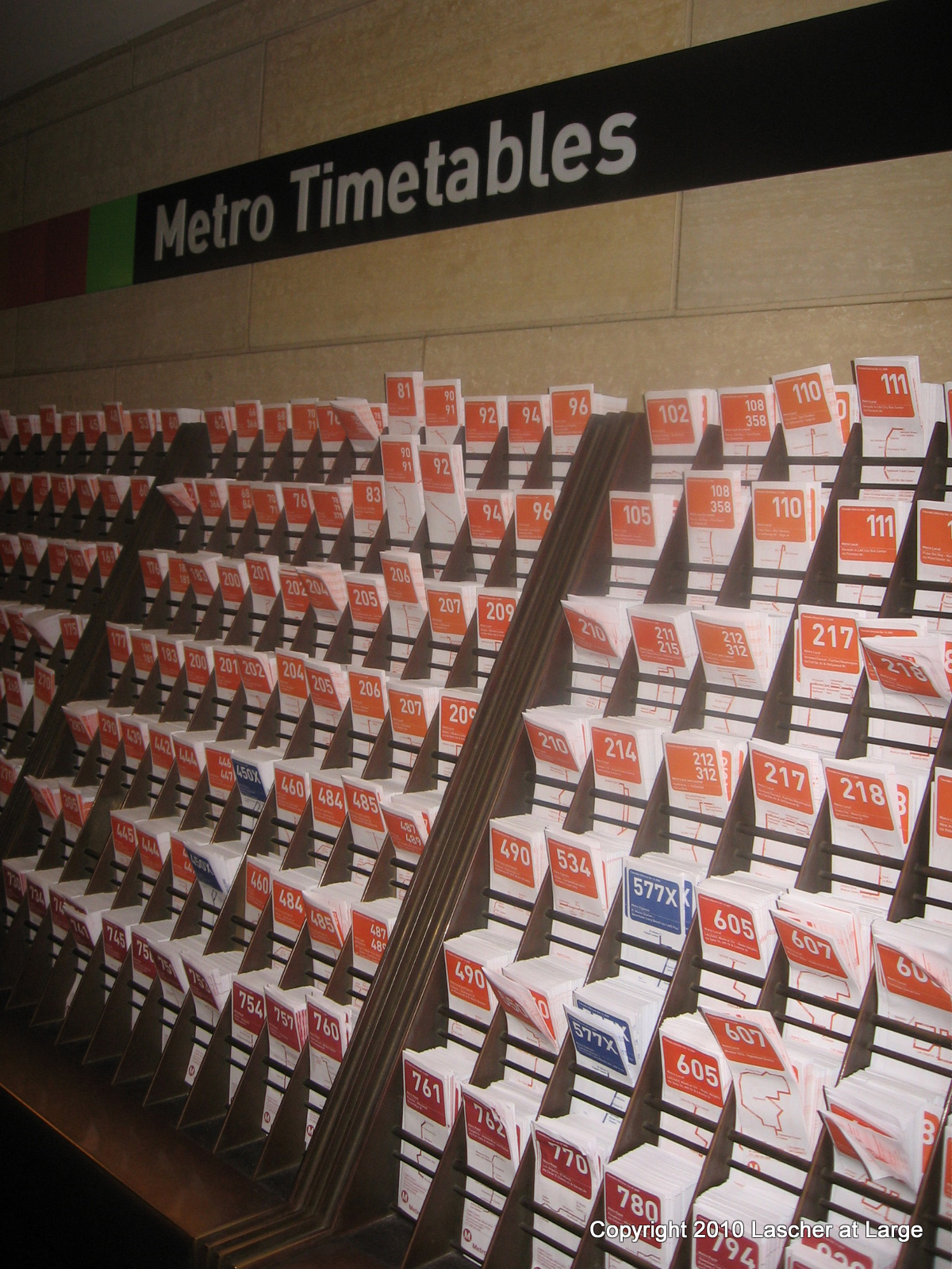 Metro timetables. ( Photo by Bill Lascher )