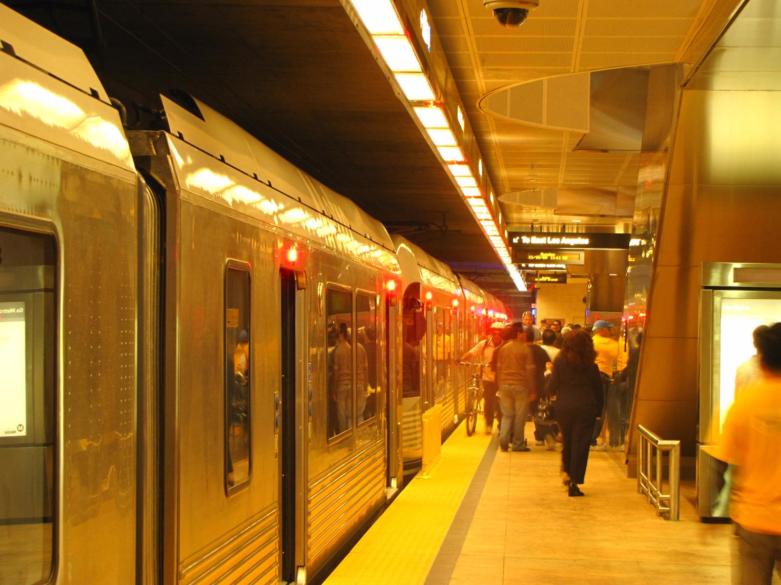 Gold line at underground stop. ( Photo by Bill Lascher)