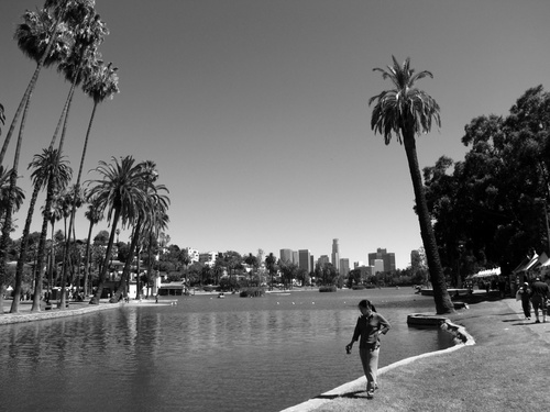 Los Angeles's Downtown Skyline As Seen From Echo Park Lake ( Photo by Bill Lascher )