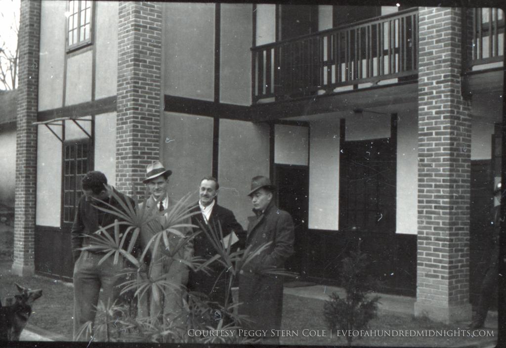 Dog McAvoy Stewart Votaw and White in coats at Press Hostel.jpg