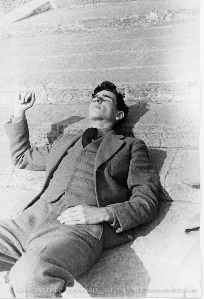 Hugh Deane lying on Press Hostel Steps.jpg