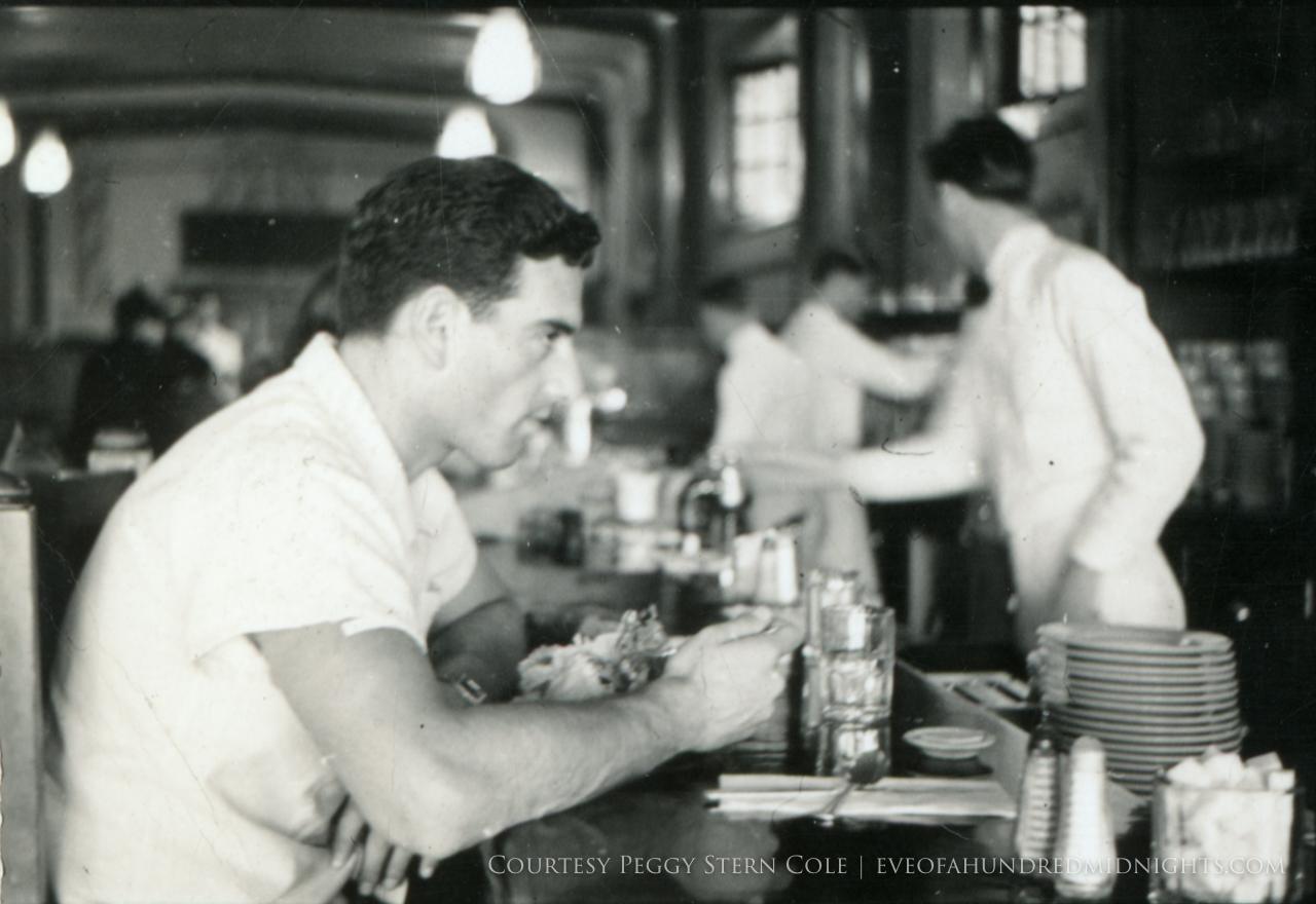 Mel at a dining counter