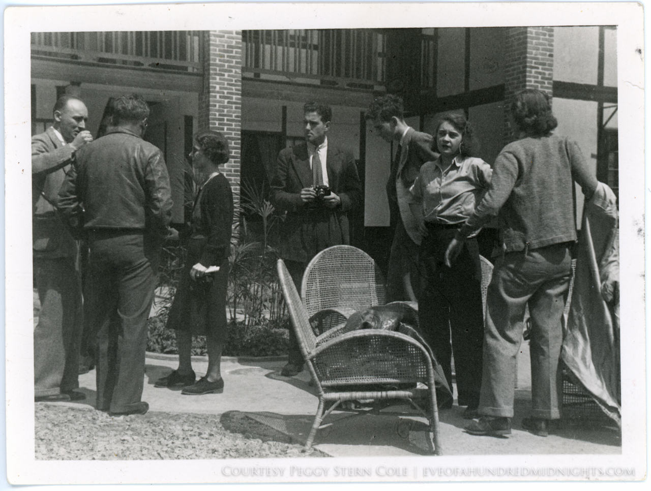Mel (with camera) Hugh Deane and other reporters outside Press Hostel.jpg
