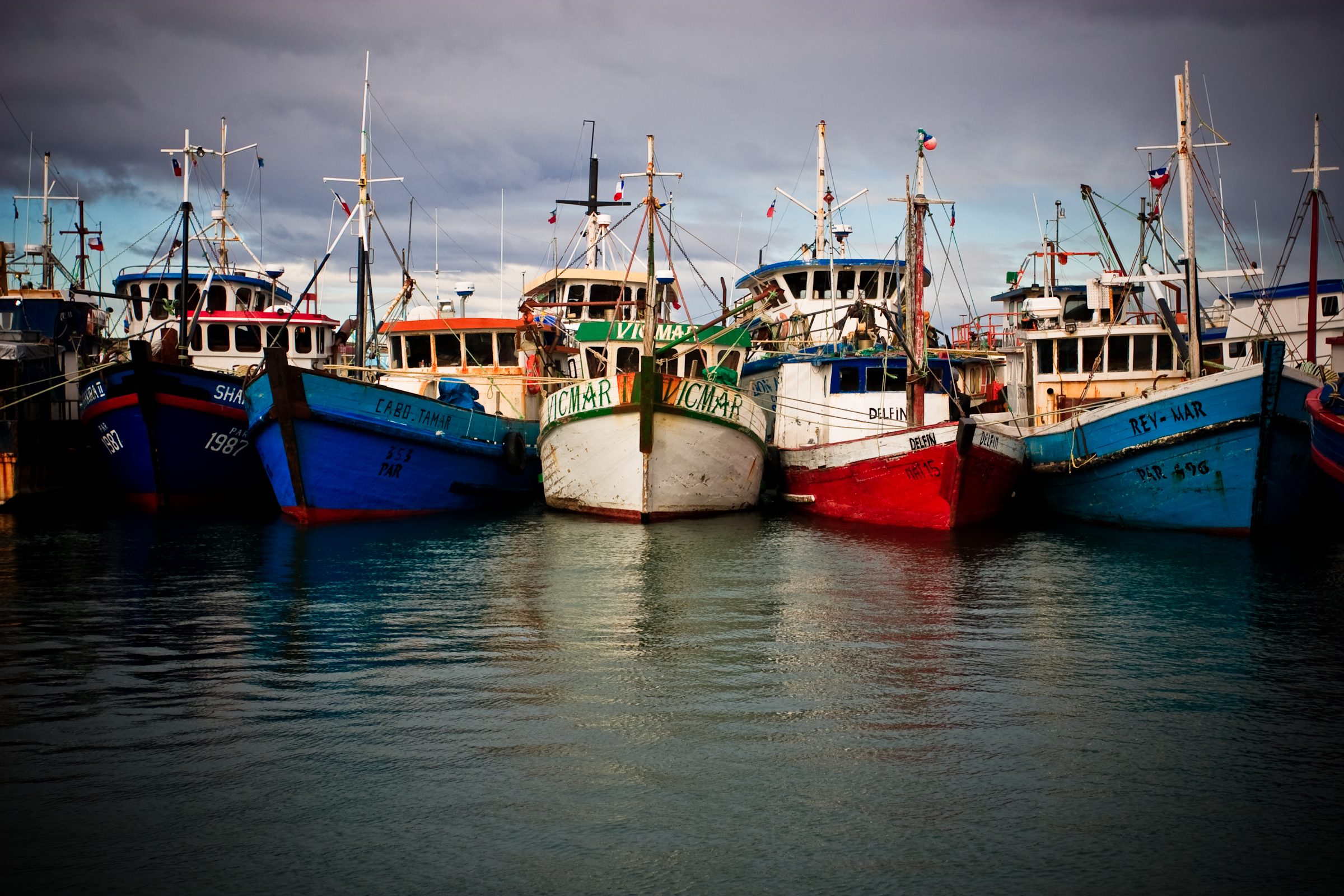 Fishing boats in Puerto Natales, Chile 2009.