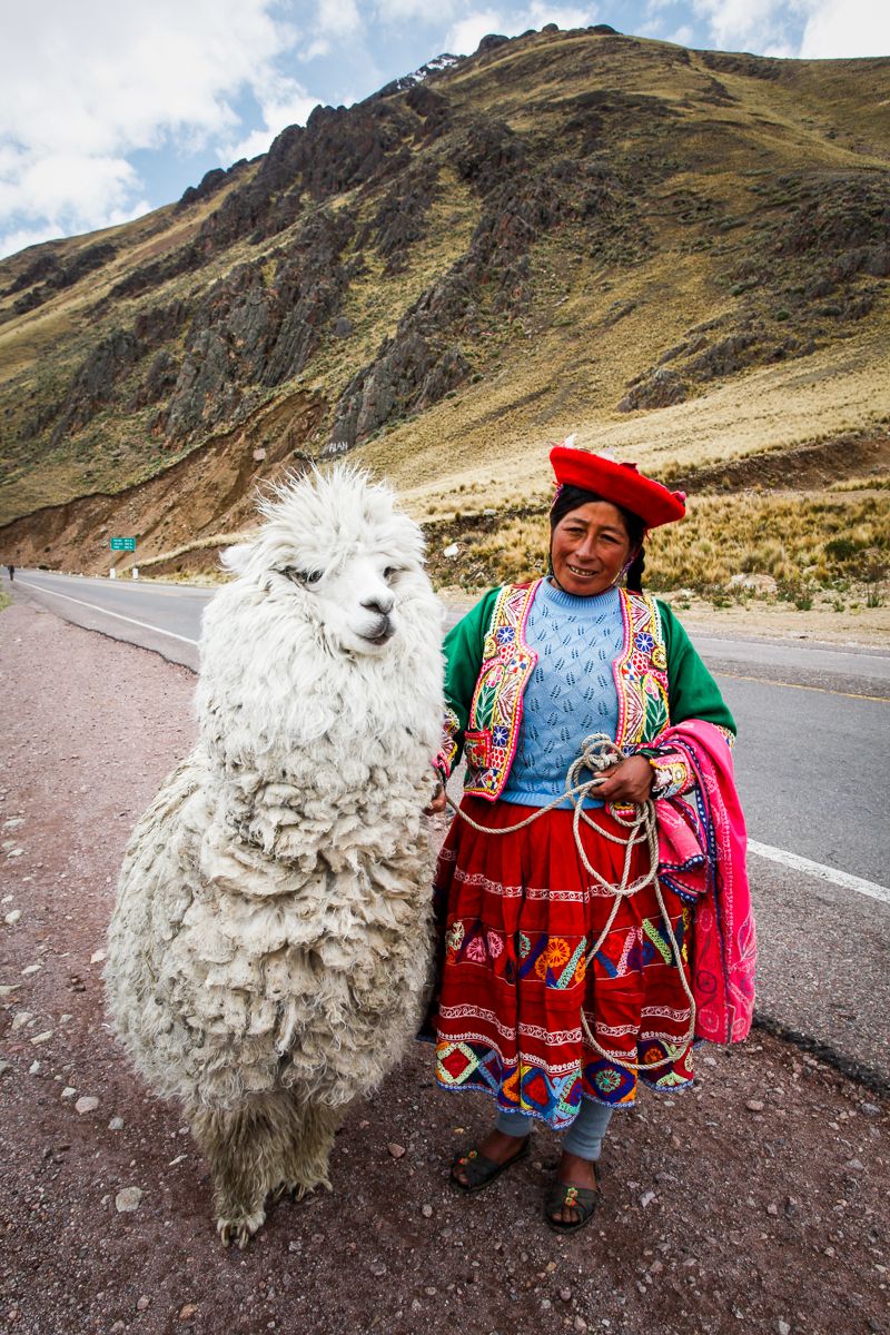 Woman with alpaca, the Andes Mountains, Peru 2010.