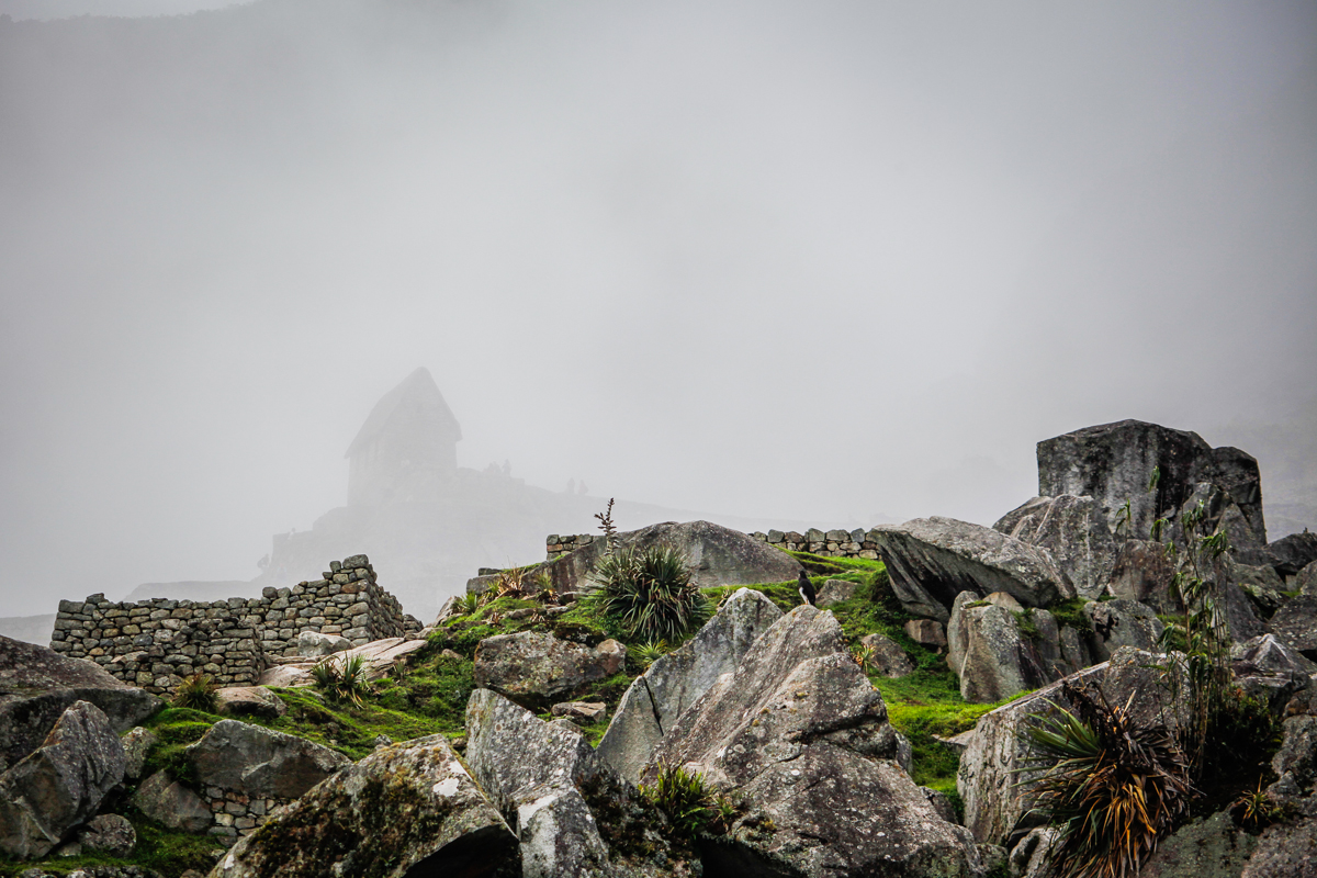 Inca ruins in the fog, Machu Picchu, Peru 2010.