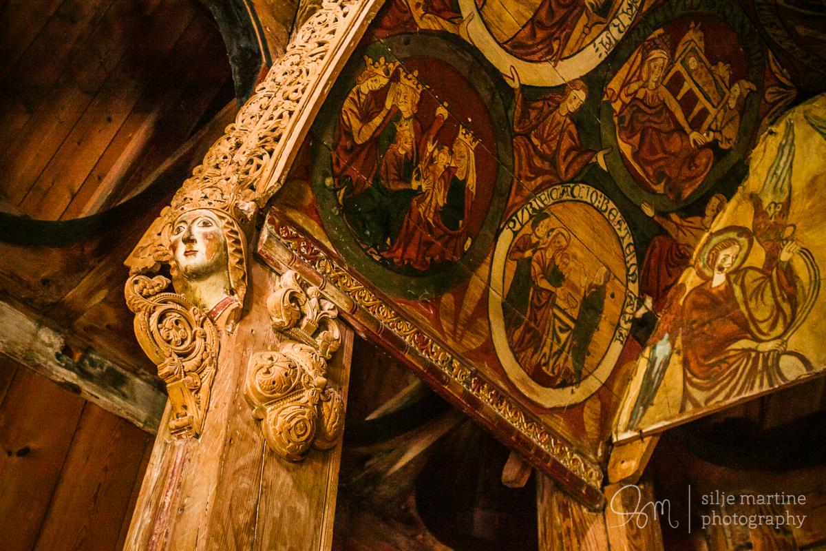 Wood carved interior.