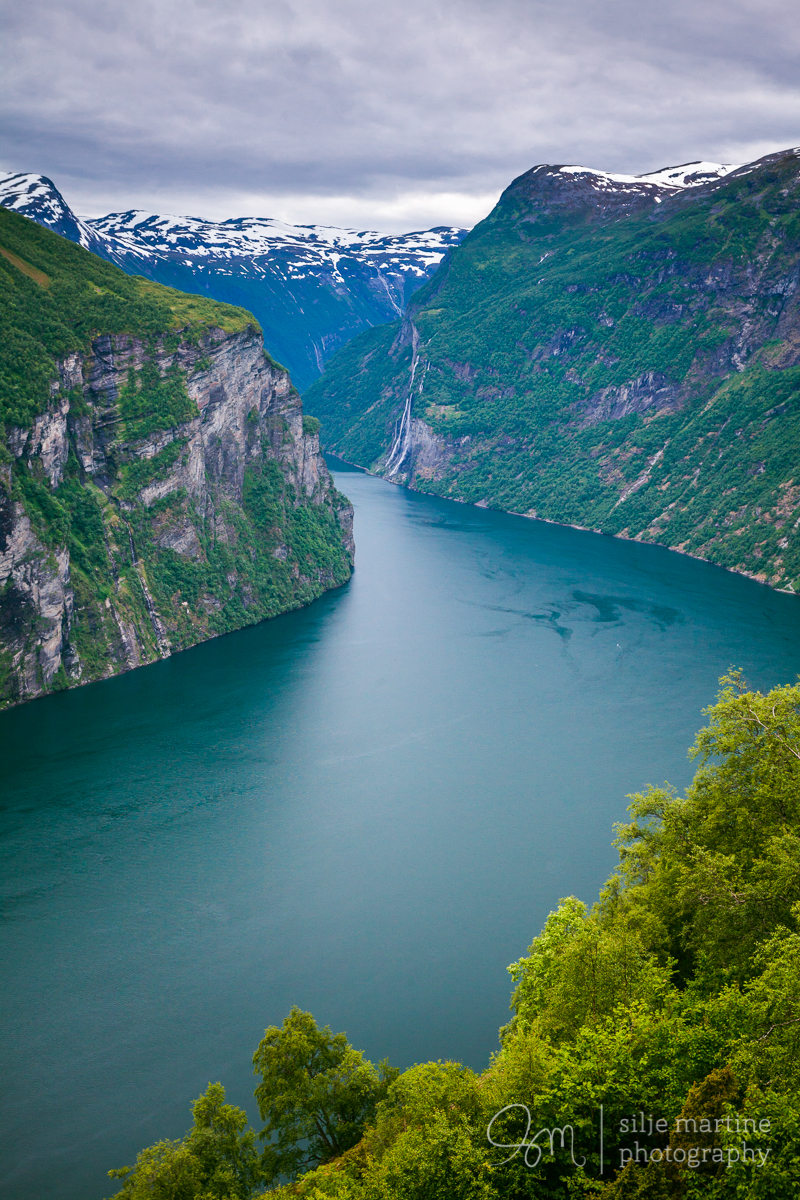 The view towards the Seven sisters waterfall and the Geiranger Fjord.