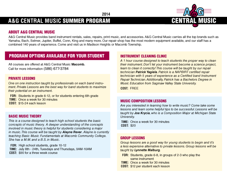 Summer Music Courses