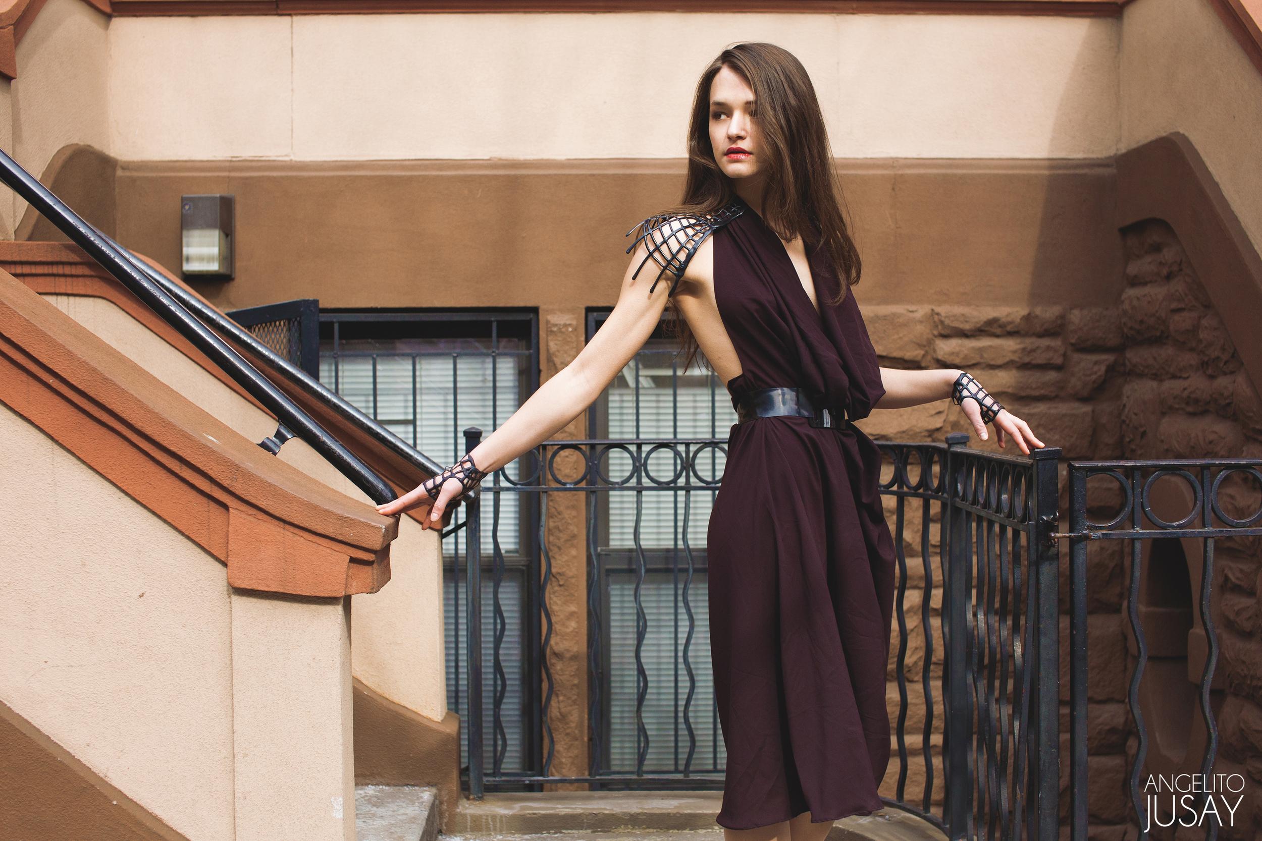 Silk Constructed Cowl Halter Dress