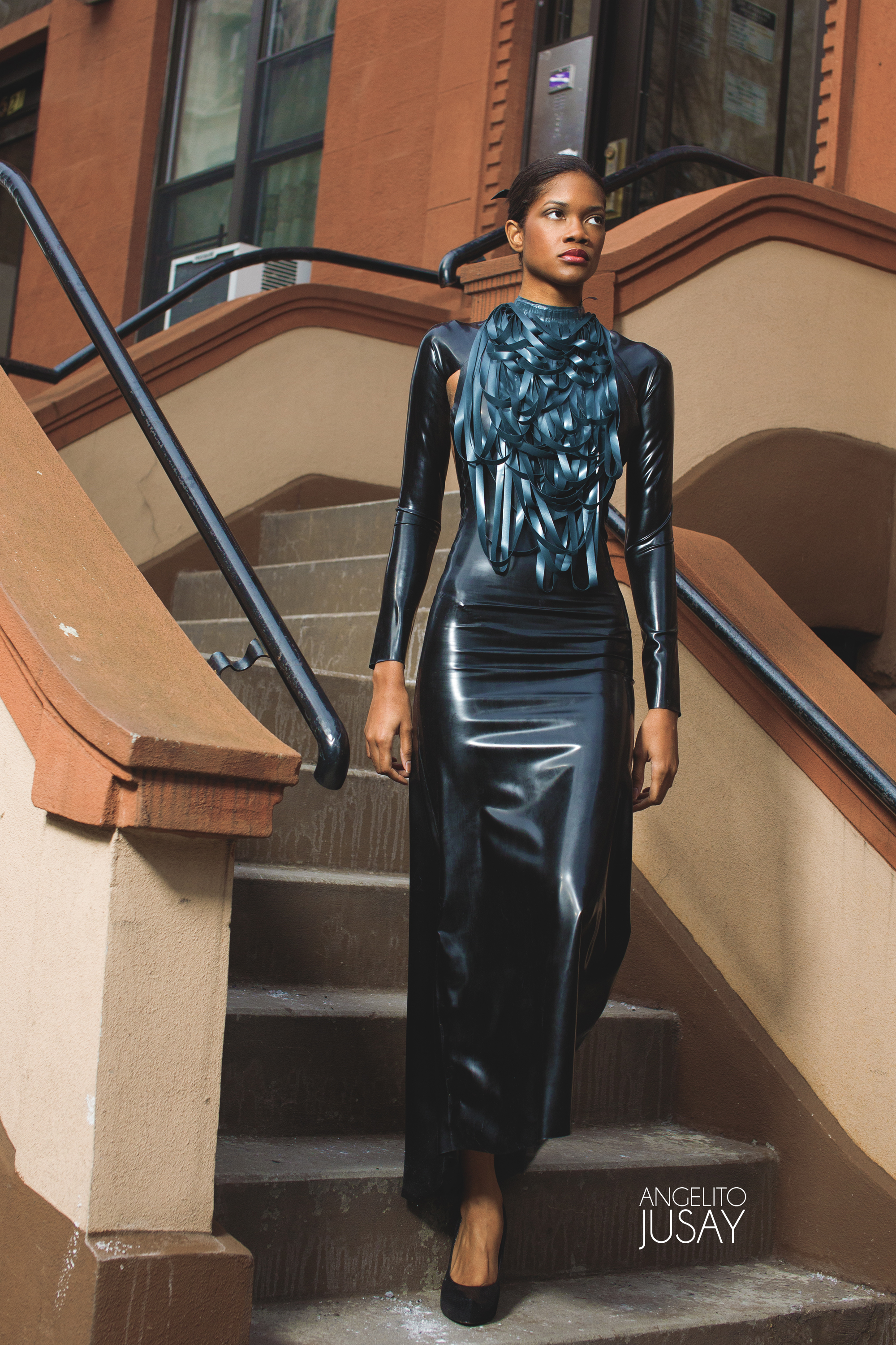 Stripped Drape Latex Neck Piece Price + Latex Cut Out Gown Price