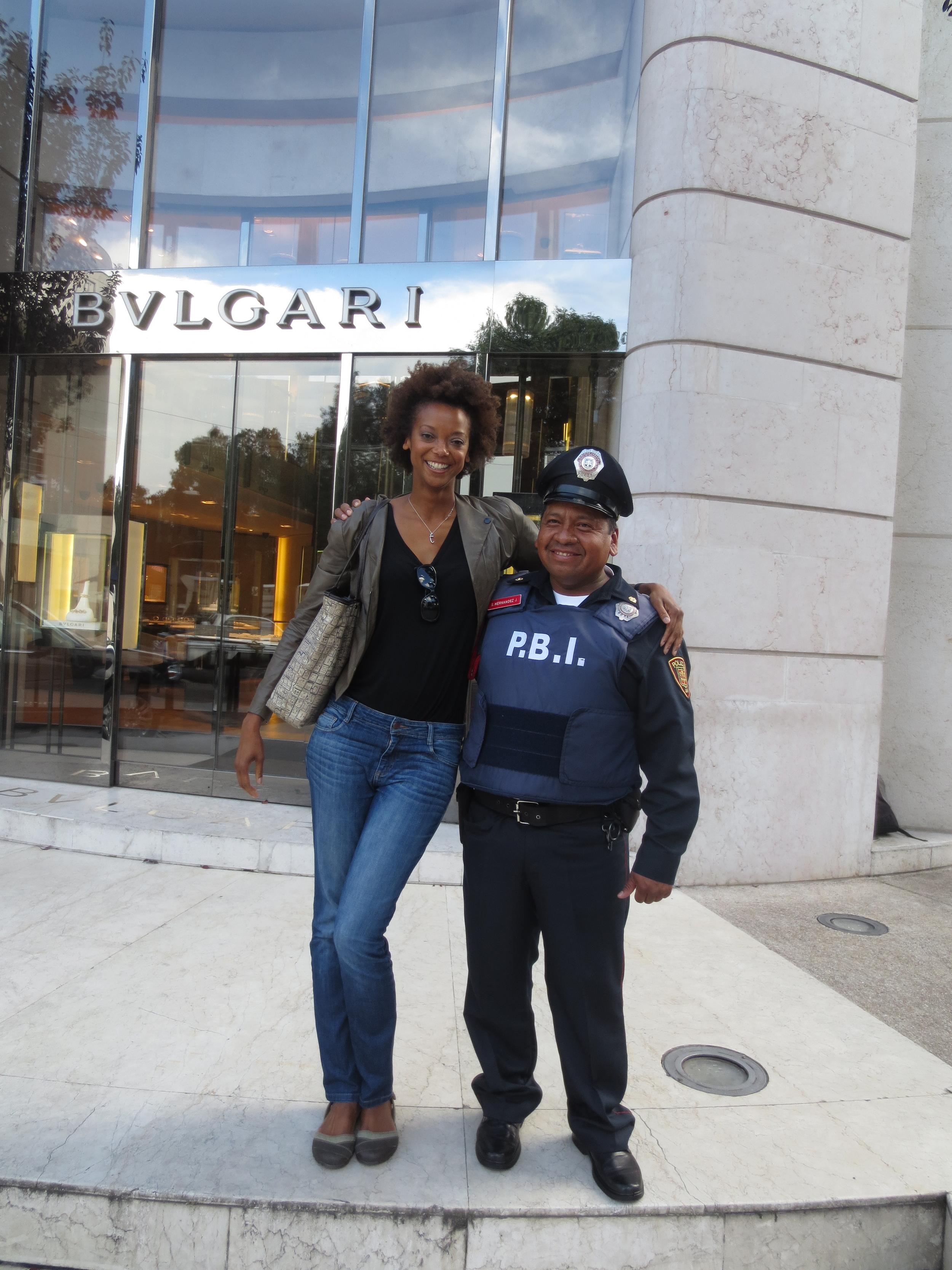 With a member of Mexico's PBI, Peace Brigade International.
