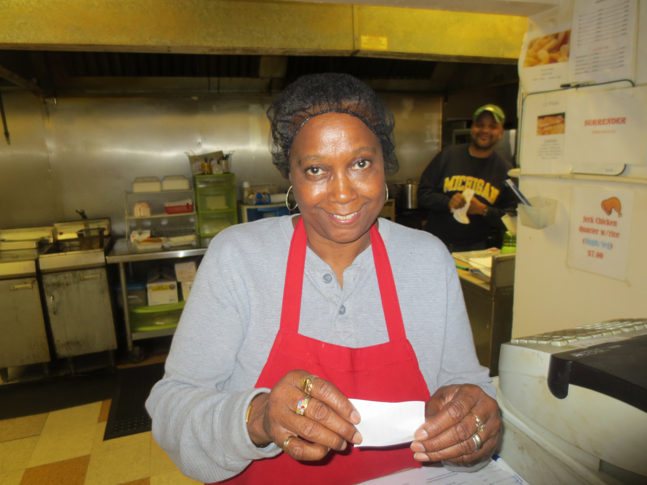 My beautiful mommy serving up BBQ during the event.