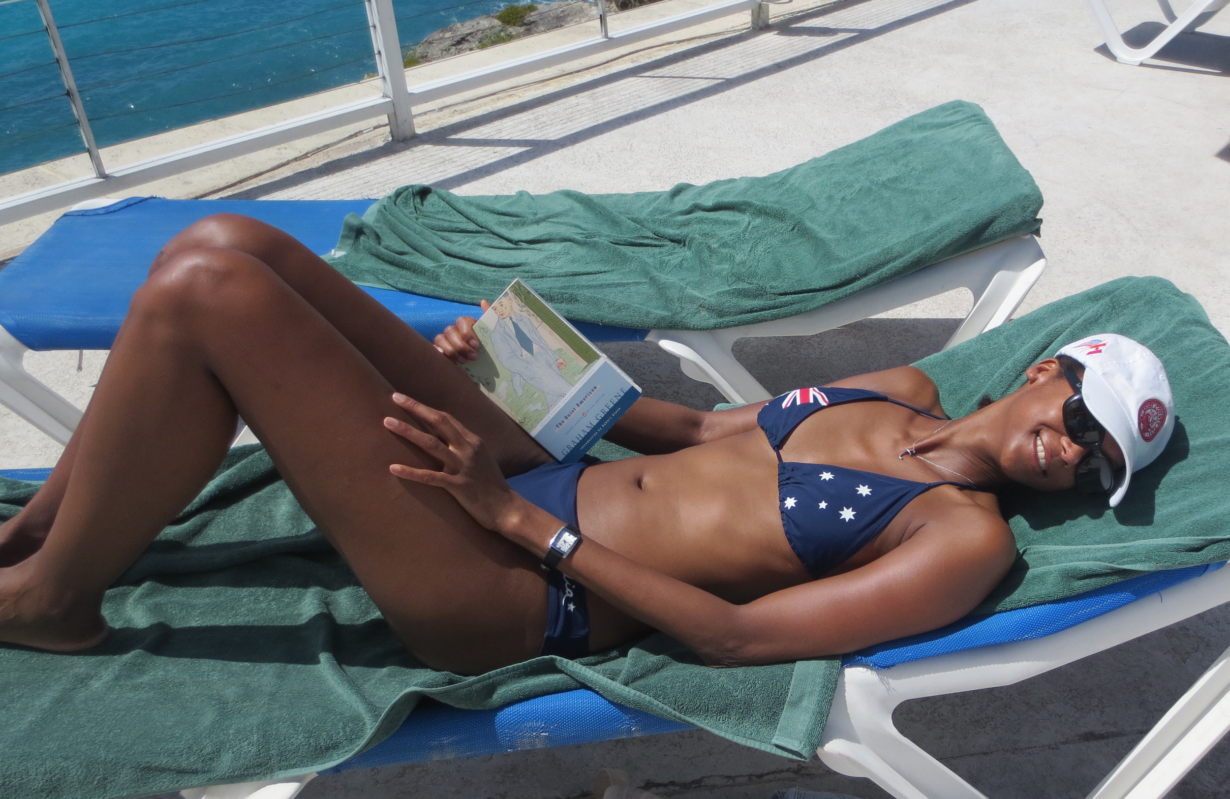 Reading Graham Greene's  The Quiet American  during a recent holiday on St. Martin.