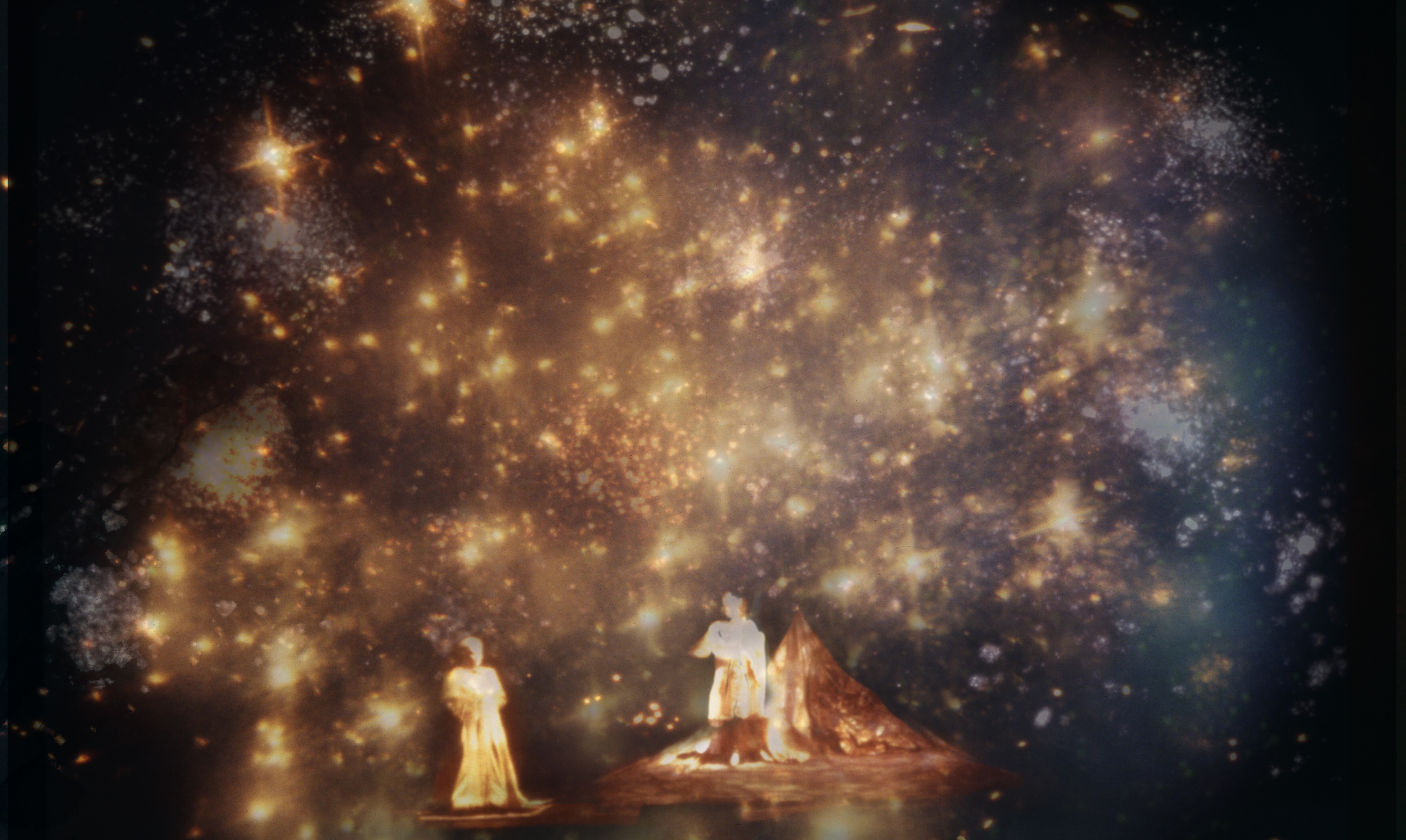 Opera begins in a celestial space inhabited by godlike creatures.