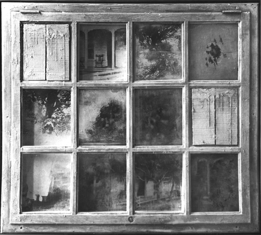 "THE GRANDMOTHER 1968 37""x 42"" x  8"" (work stolen)"