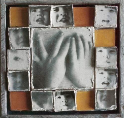 "PORTRAIT OF JACOB ZIMMER 1969 15"" x 15"" x 4"""