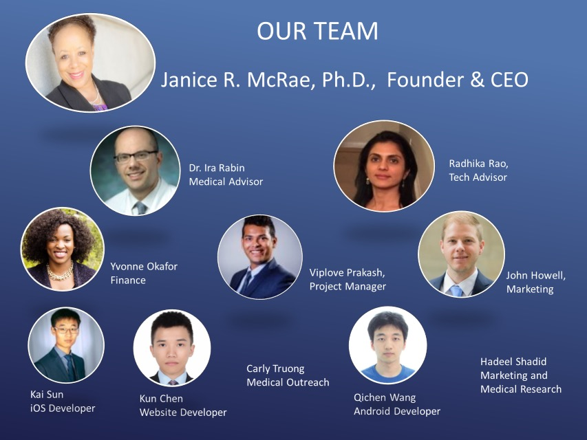 - TEAMJanice R. McRae, Ph.D., Founder & CEO, Radhika Rao, Tech Advisors; Dr. Ira Rabin, Medical Advisor; Viplove Prakash, Product Manager; Kun Chen, Web Developer; Yvonne Okafor, Finance;Kai Sun, IOS Developer; Qichen Wang, Android Developer; John Howell, Marketing.