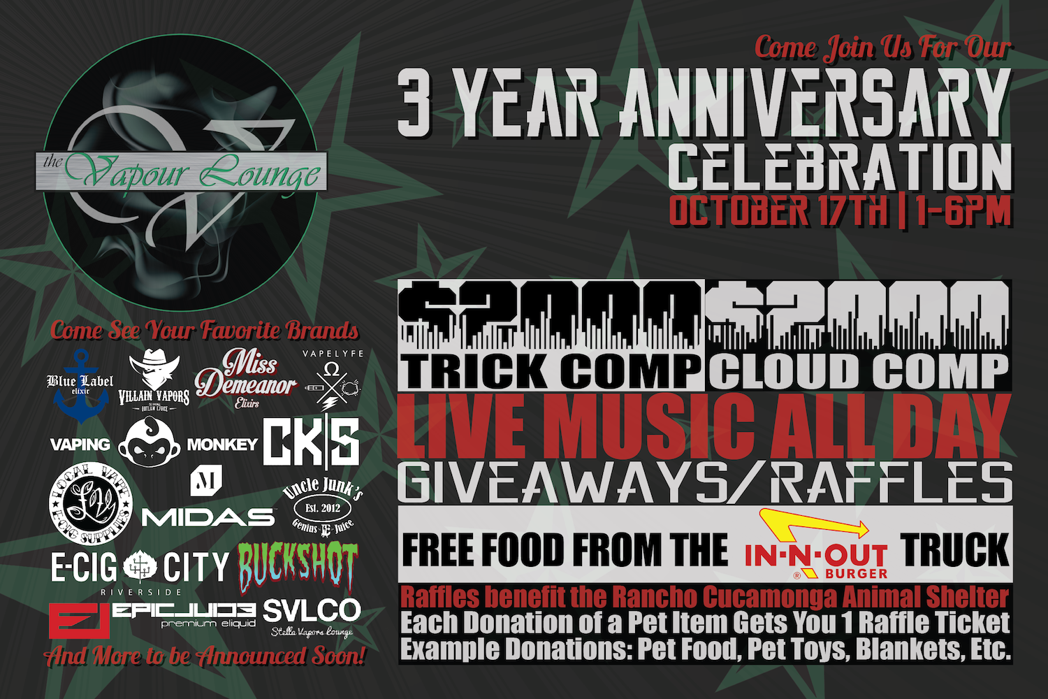 Vapour Lounge 3 Year Anniversary Party Flyer (Front)