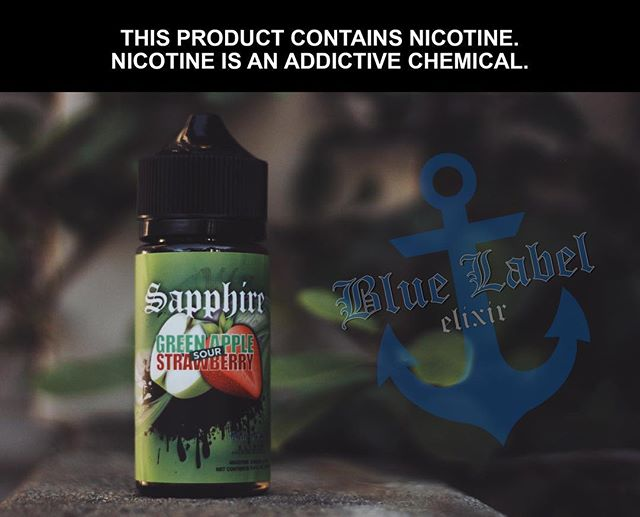 Sapphire is a sweet and delicious apple strawberry flavor! • • • #thevapourlounge #bluelabelelixir #vapewithstyle #vapelife #vapedaily #vapeon #vapeporn #vapehead #vape #vapenation #ejuice #eliquid #lifestyle
