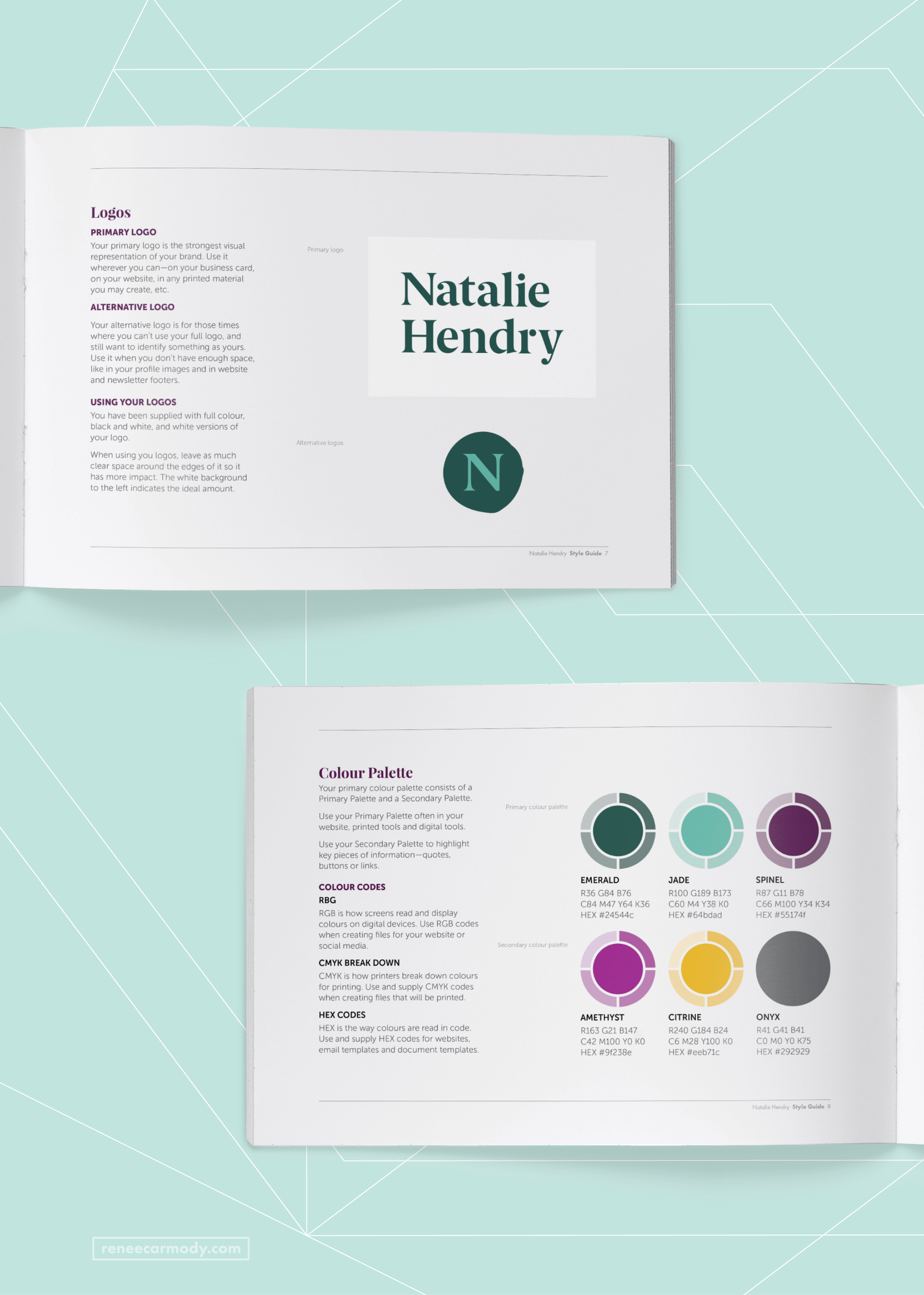 Brand Style Guide designed for Natalie Hendry by Renée Carmody Design.
