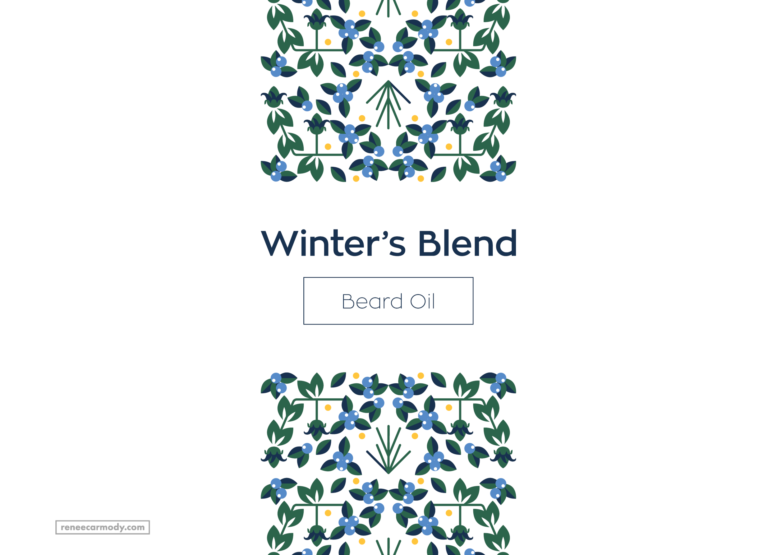 Logo and Brand design by Renée Carmody Design for Winter's Blend—a beard and hair oil company using only kind ingredients.