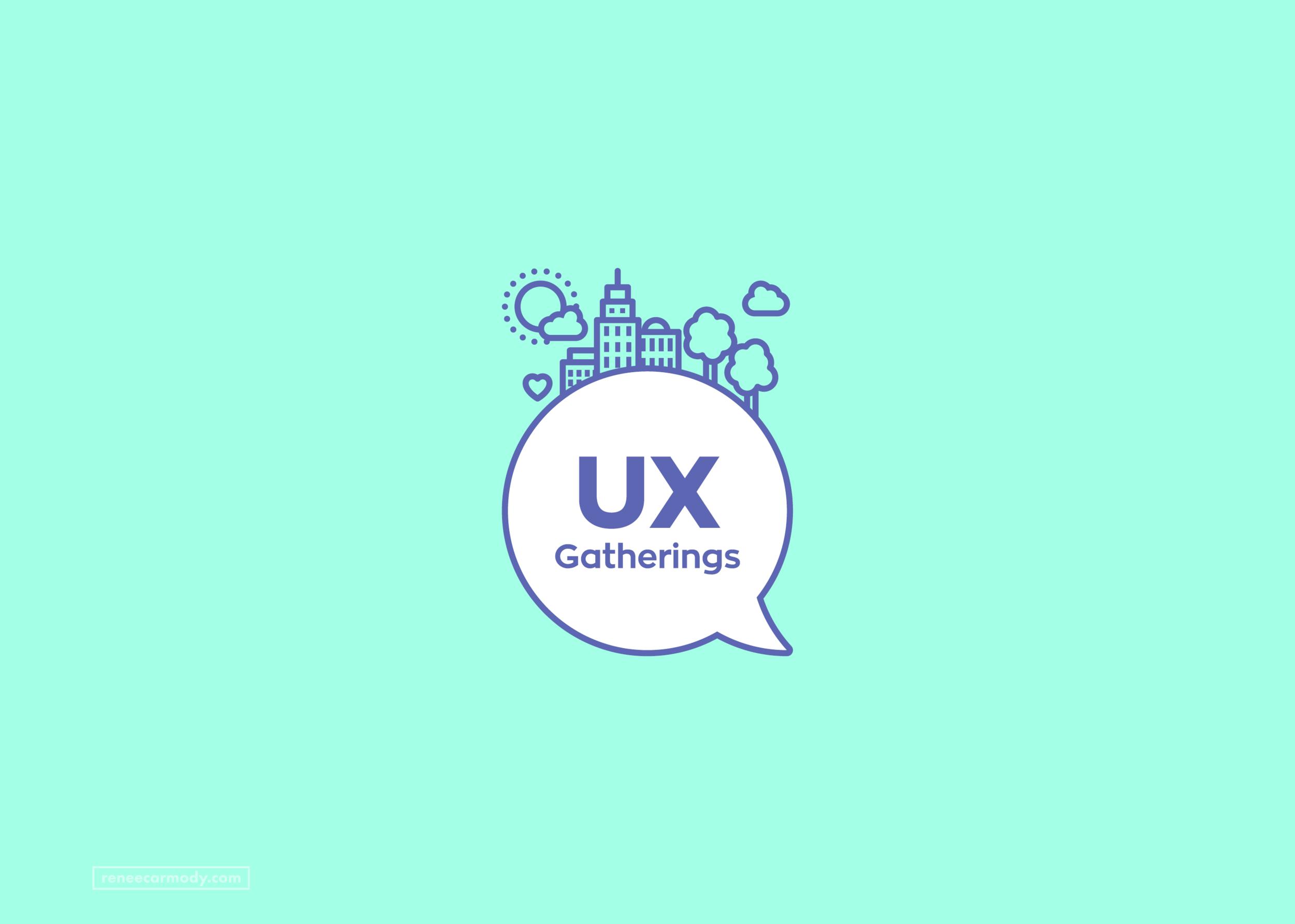 Logo and brand design for UX Gatherings by Renée Carmody Design. reneecarmody.com