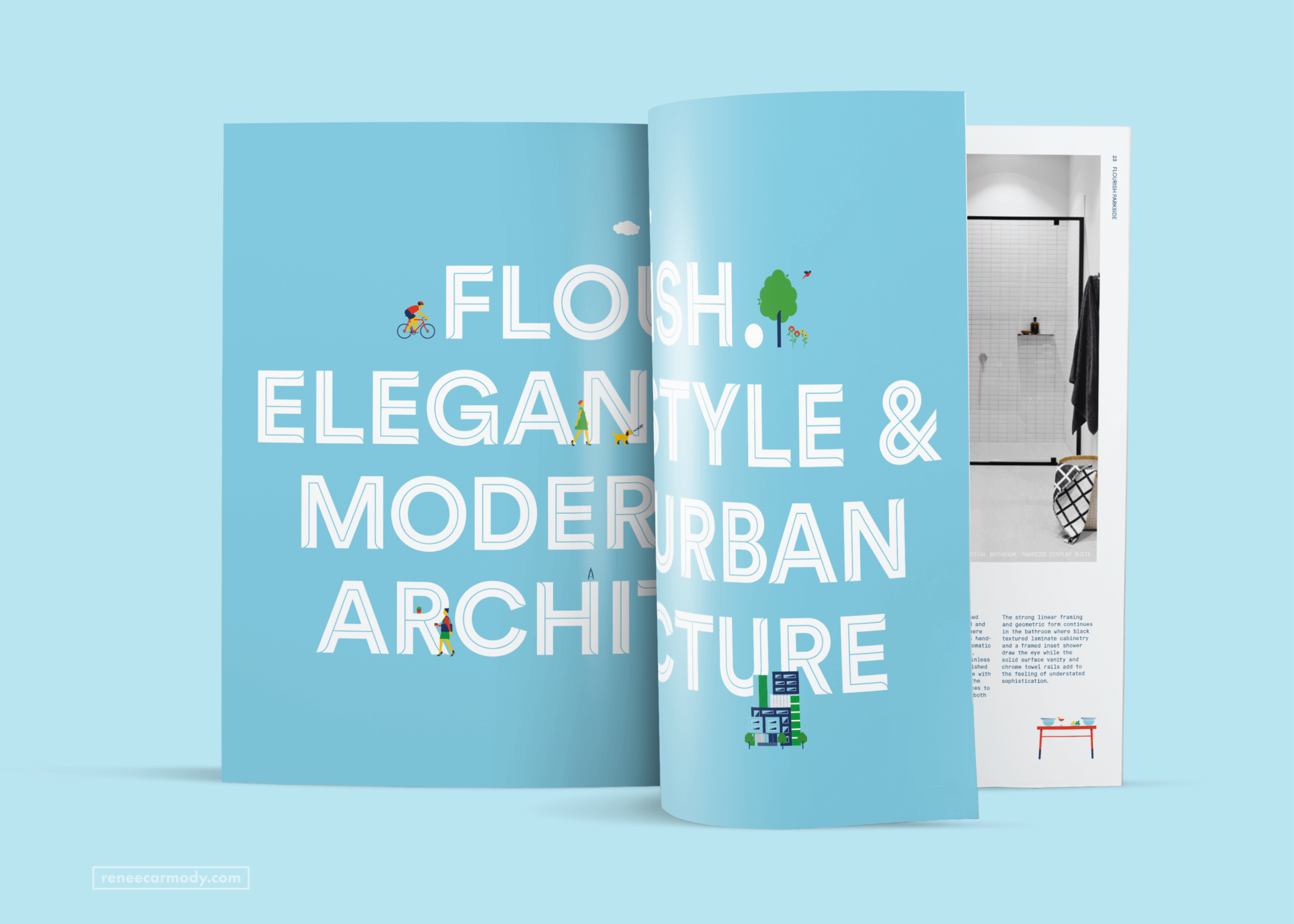 Lifestyle illustrations for print and digital design for Flourish Parkside by Renée Carmody Design, commissioned by Savi Communications.