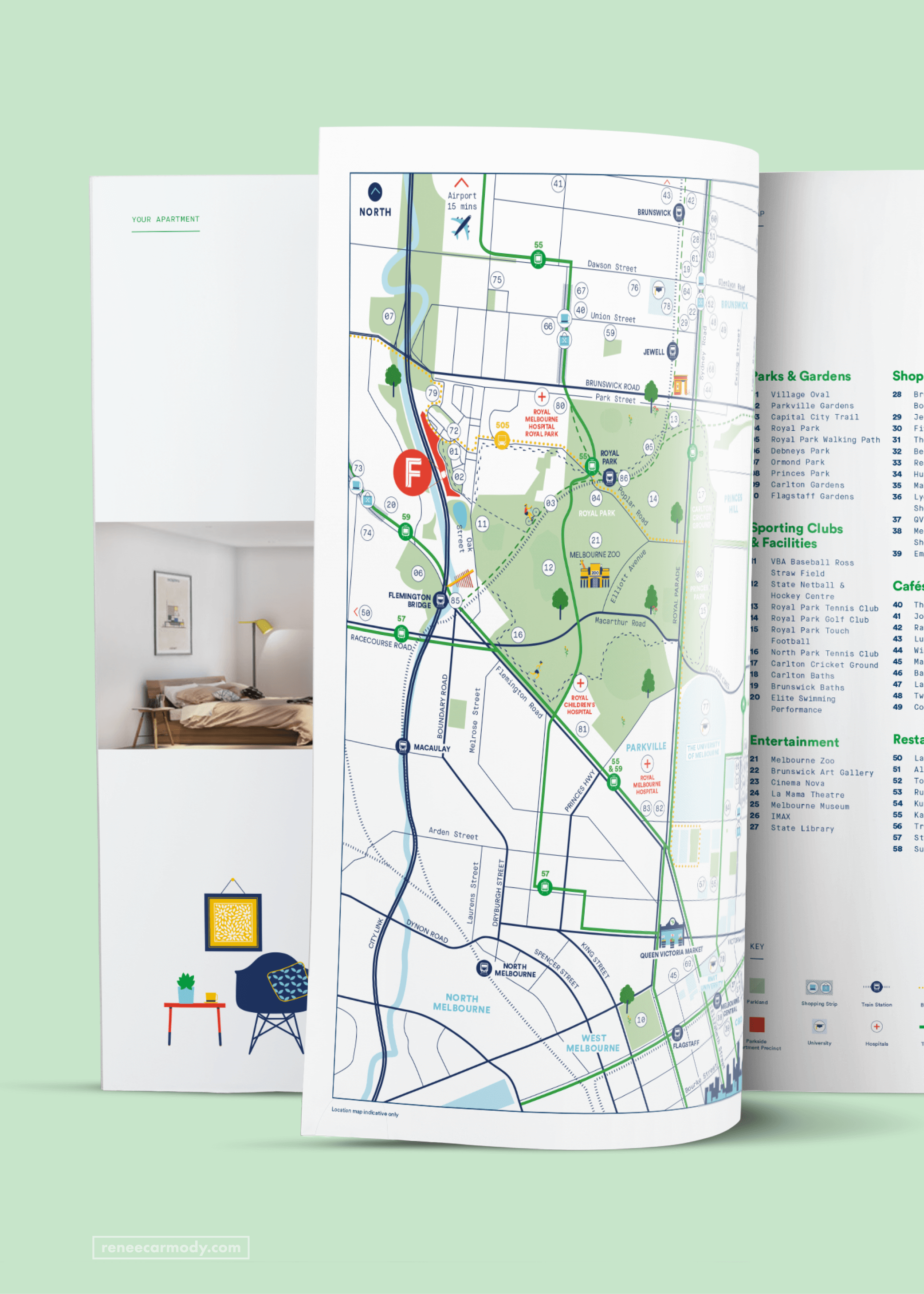 Illustrated Map for Flourish Parkside by Renée Carmody Design, commissioned by Savi Communications.
