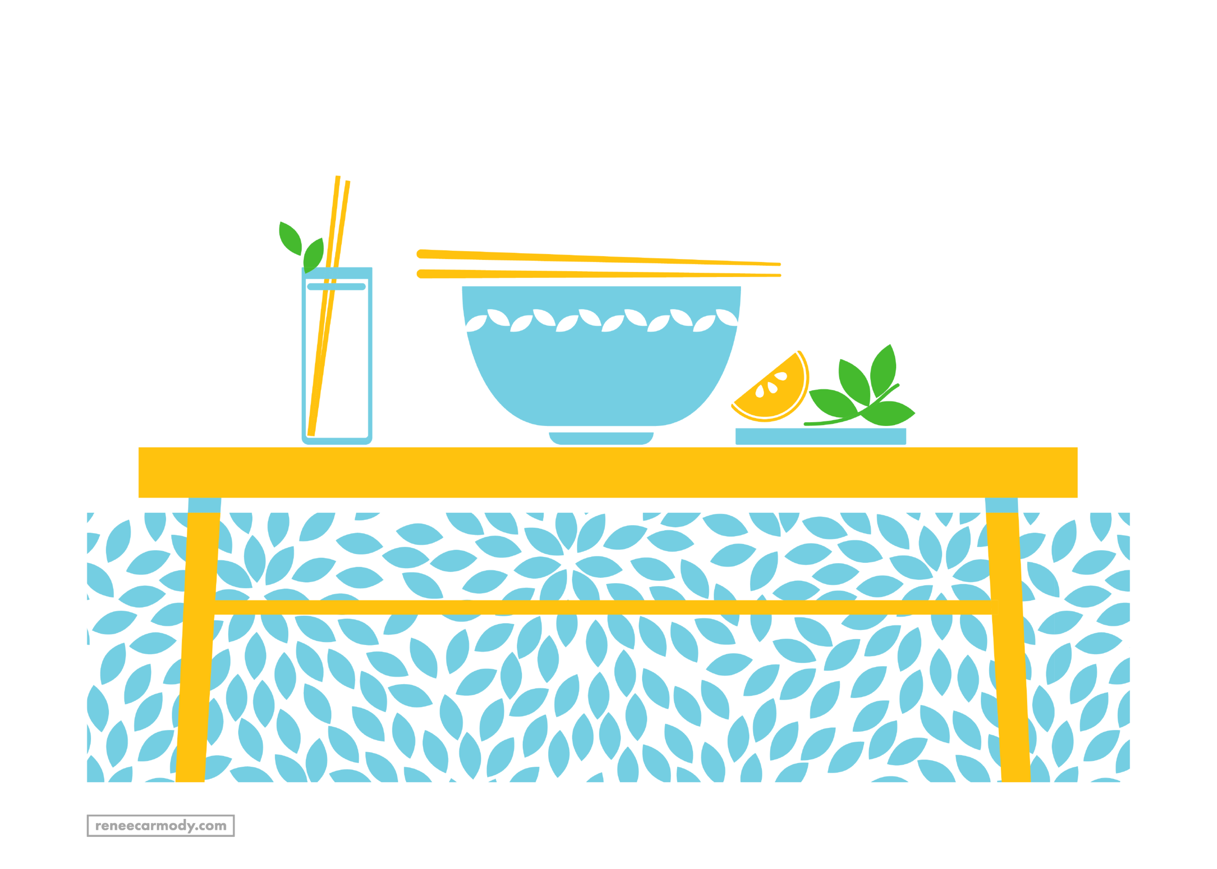 Food and dining illustration by Renee Carmody Design for Flourish Parkside, comissioned by Savi Communications—www.reneecarmody.com