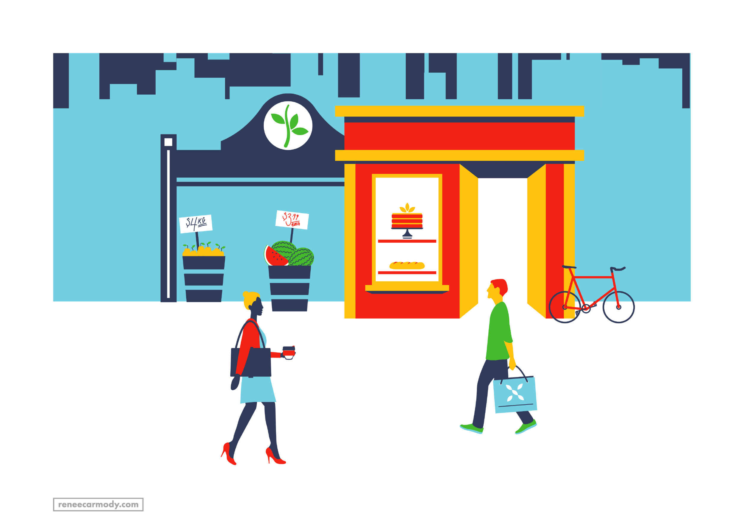 Shopping and market illustration by Renee Carmody Design for Flourish Parkside, comissioned by Savi Communications—www.reneecarmody.com