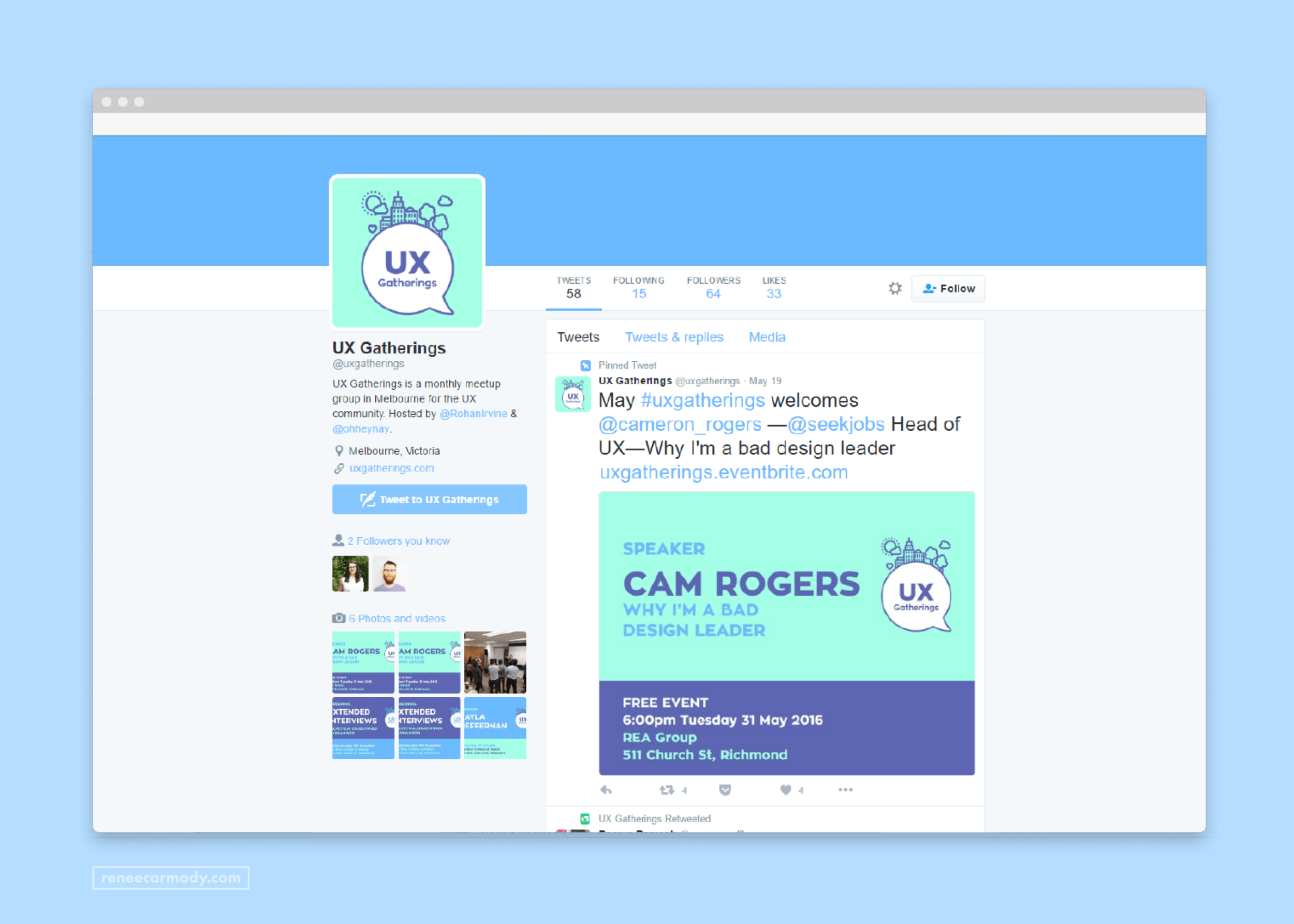 Twitter and social media design for UX Gatherings by Renée Carmody Design.