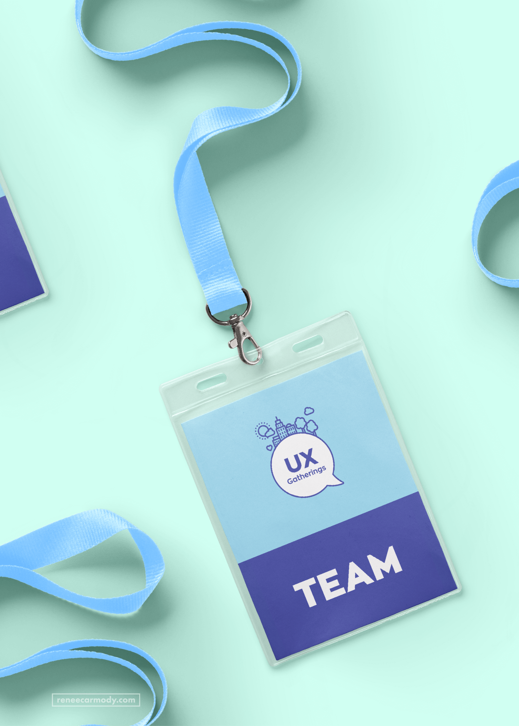 Event Lanyard and ID Card Design for UX Gatherings by Melbourne Brand and Graphic Designer Renée Carmody Design.