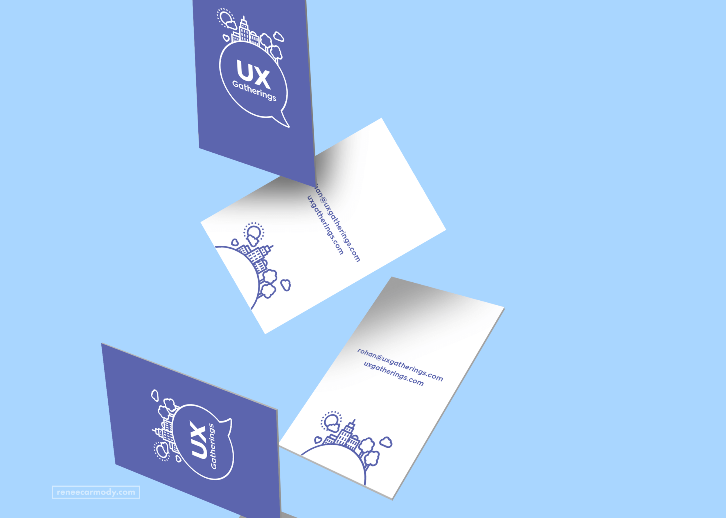 Brand and business card design by Renée Carmody Design for UX Gatherings.