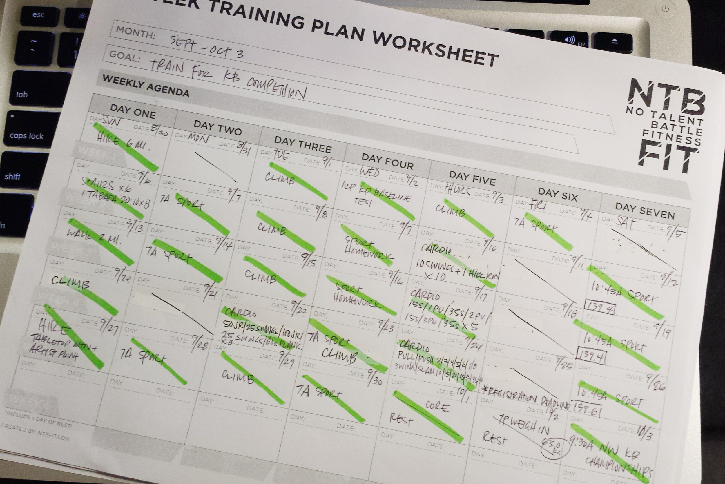 A sneak peek at my training plan.