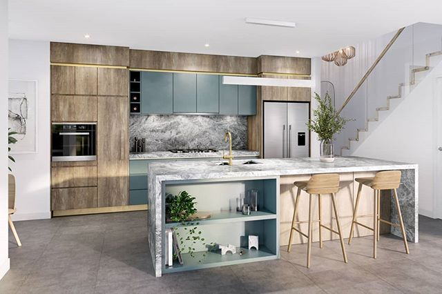 Essence Peregian Beach | Lily House Kitchen | Fresh coastal palette of natural themed materials and a hint of ocean inspired colours.  Team: Scanlon Group  @century21noosa  Tim Partos 3D Visualisation  Red Door Architecture + Interiors