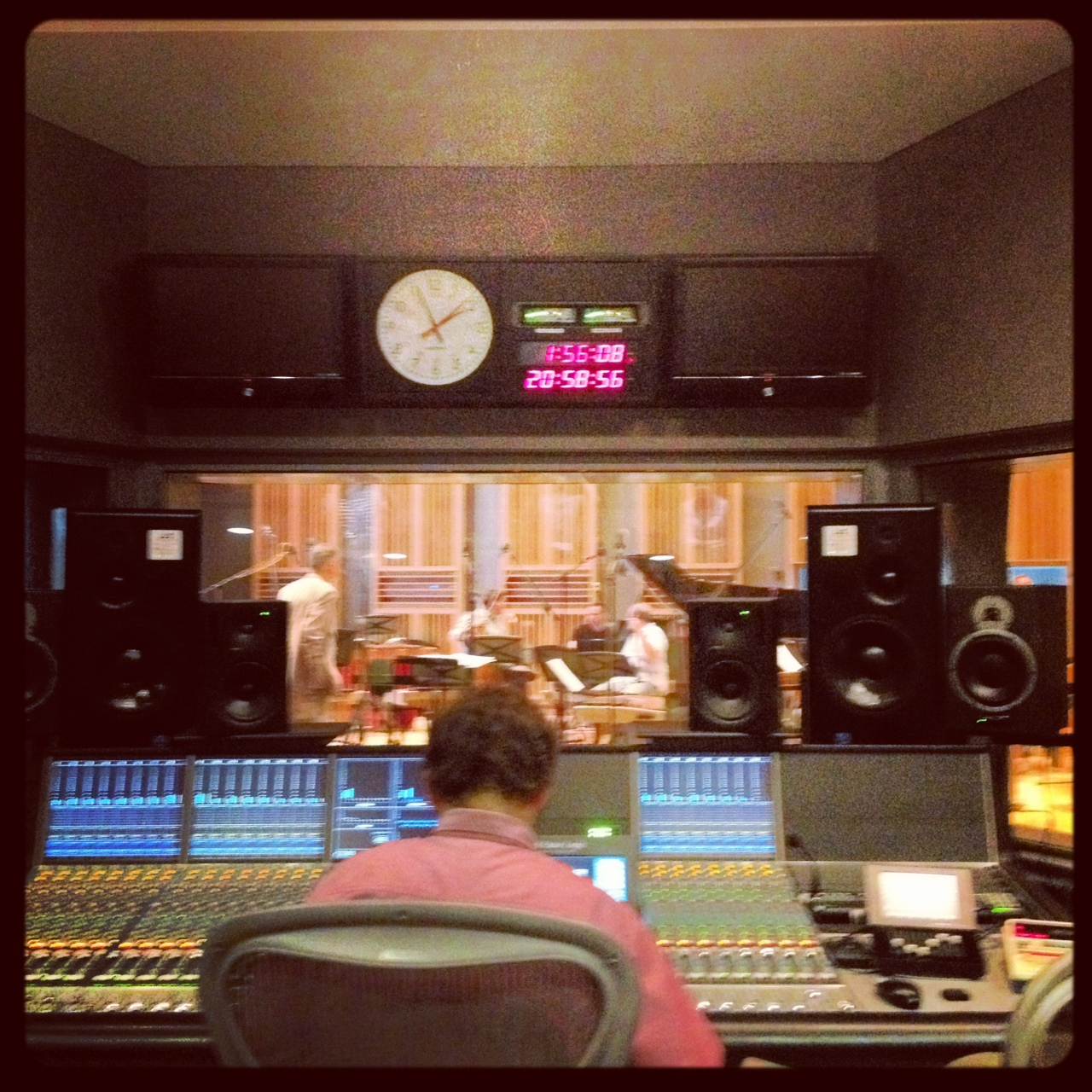 The control room. That's our producer in the driver's seat.