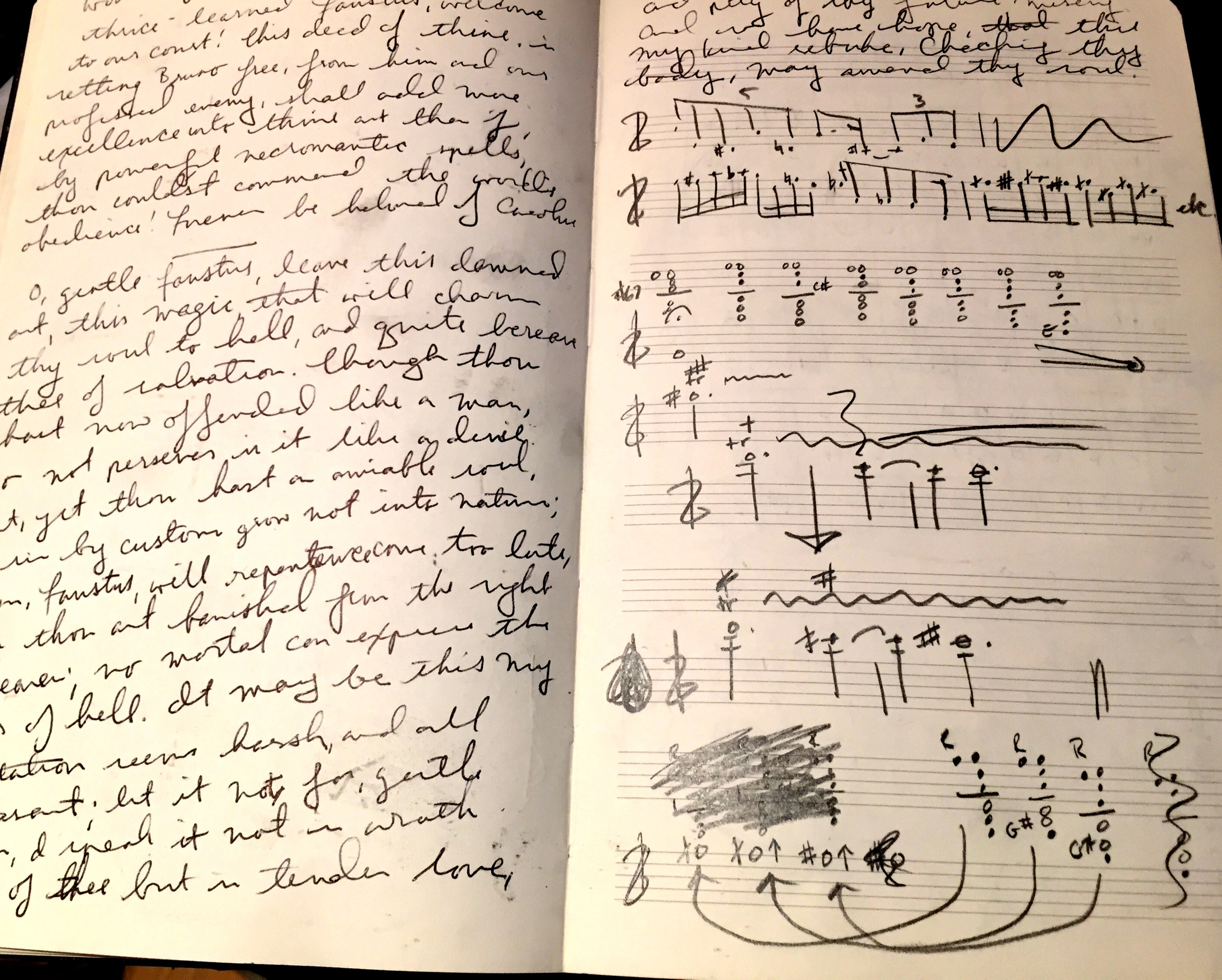 Left:Memorizing lines for Wax Wings Productions' THE TRAGICAL HISTORY OF DOCTOR FAUSTUS; Right: Mapping out clarinet multiphonics for CHARLES & RAY