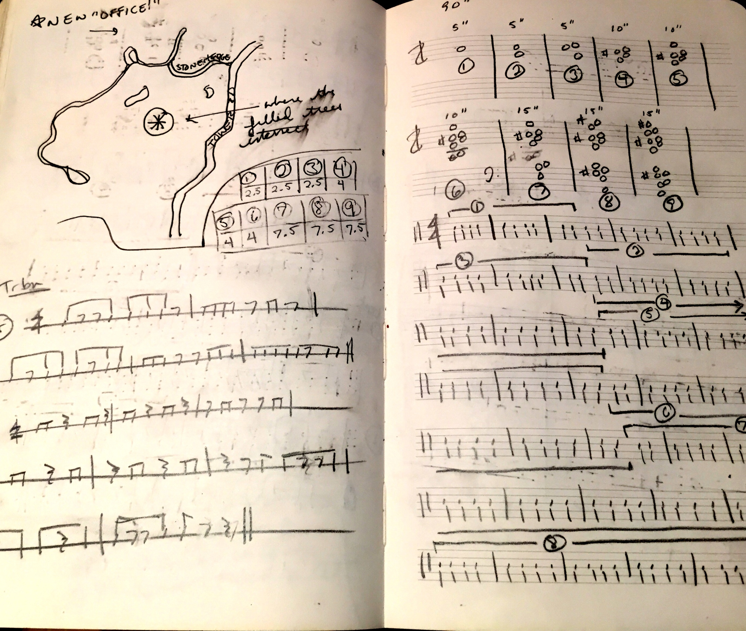"""Left: While walking through the Lincoln wilderness, I stumbled upon a new """"office"""" (to which I've returned many times since); Right: Mapping out isorhythmic material for THE TOWER (used in the """"winding staircase"""" section"""