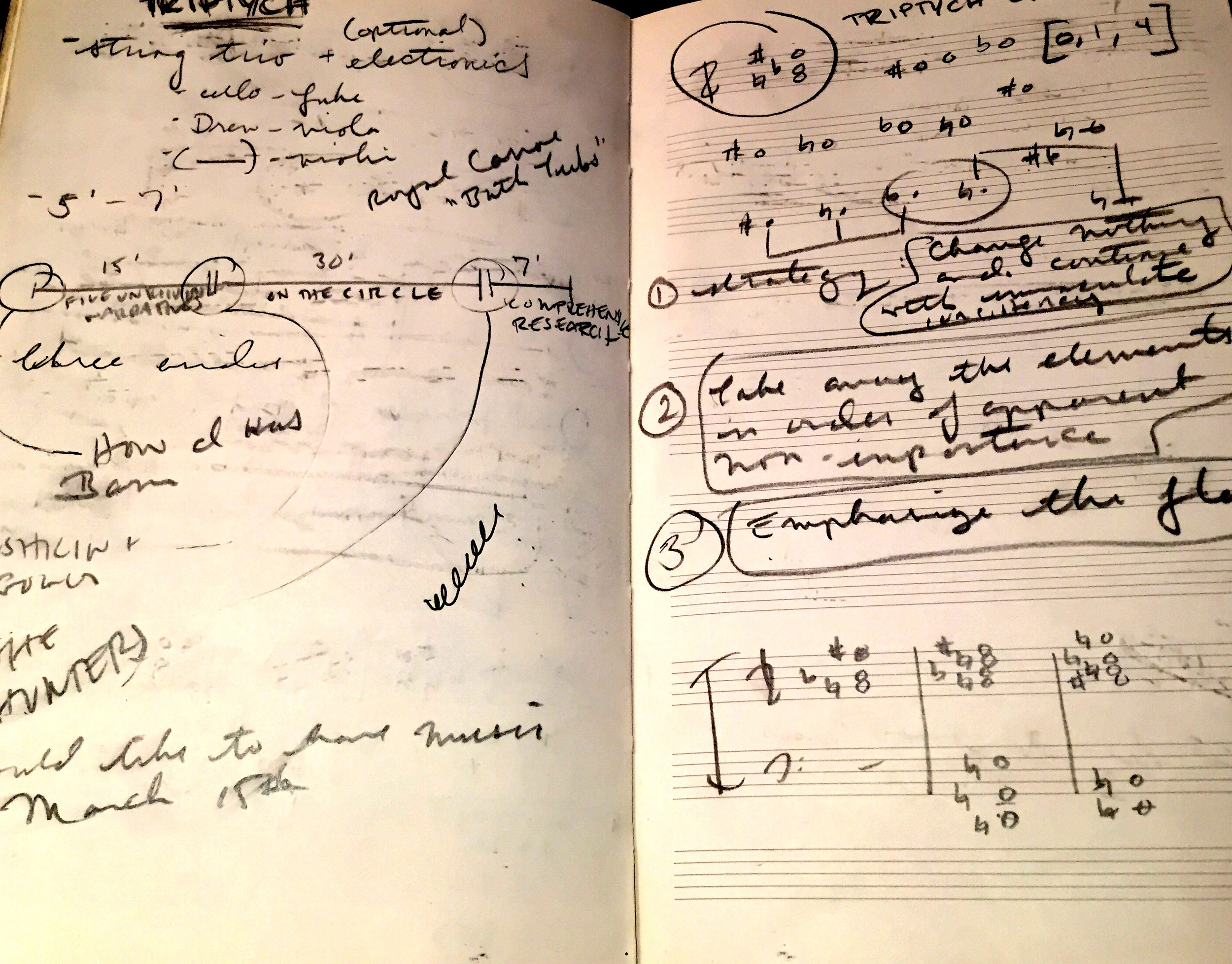 Left and Right: Notes from an especially productive Fifth Floor Collective meeting at a coffee shop in Brighton---we were mapping out our first-ever collaborative composition, TRIPTYCH, about which much more information will be coming soon